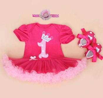 Baby Rompers 3PCs Infant Clothing Set Baby Girls Hot Pink 1st Birthday Tutu Dress Jumpersuit Headband Shoes