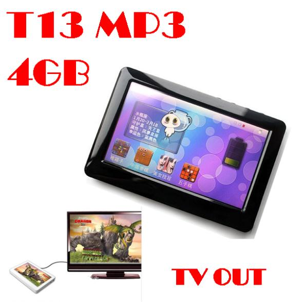 """50% shipping fee 10 pieces 4.3"""" Touch screen Christmas MP4 Player T13 FM Radio TV-OUT 4GB(China (Mainland))"""