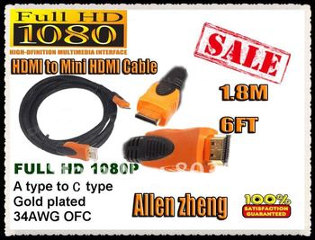 NEW mini HDMI cable 1.8M (6FT) with Full HD 1080P 50pcs/lot DHL  Free shipping