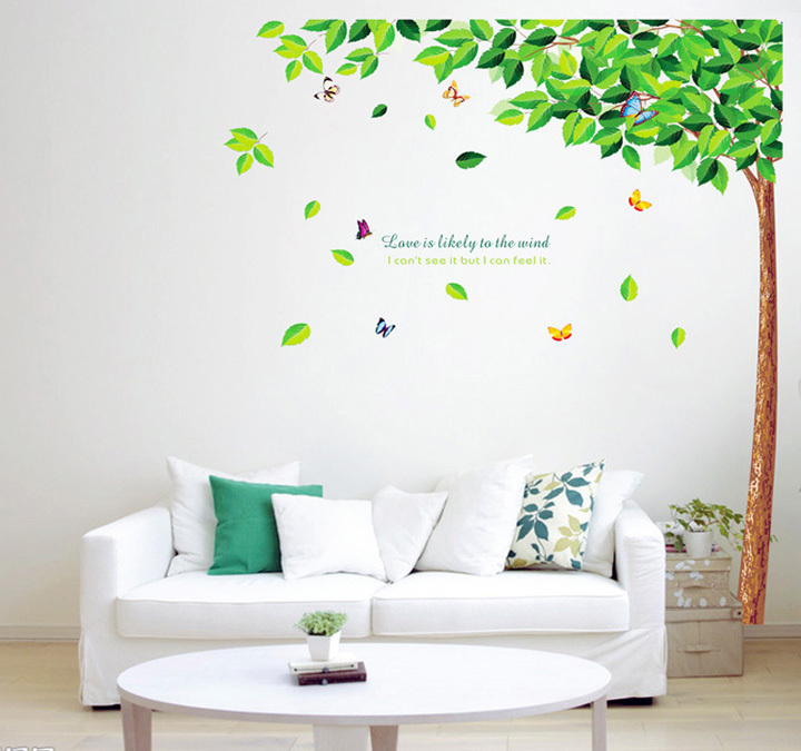 Love Is Likely To the Wind Tree Butterfly Wall Stickers Decoration For Living Room CT024(China (Mainland))