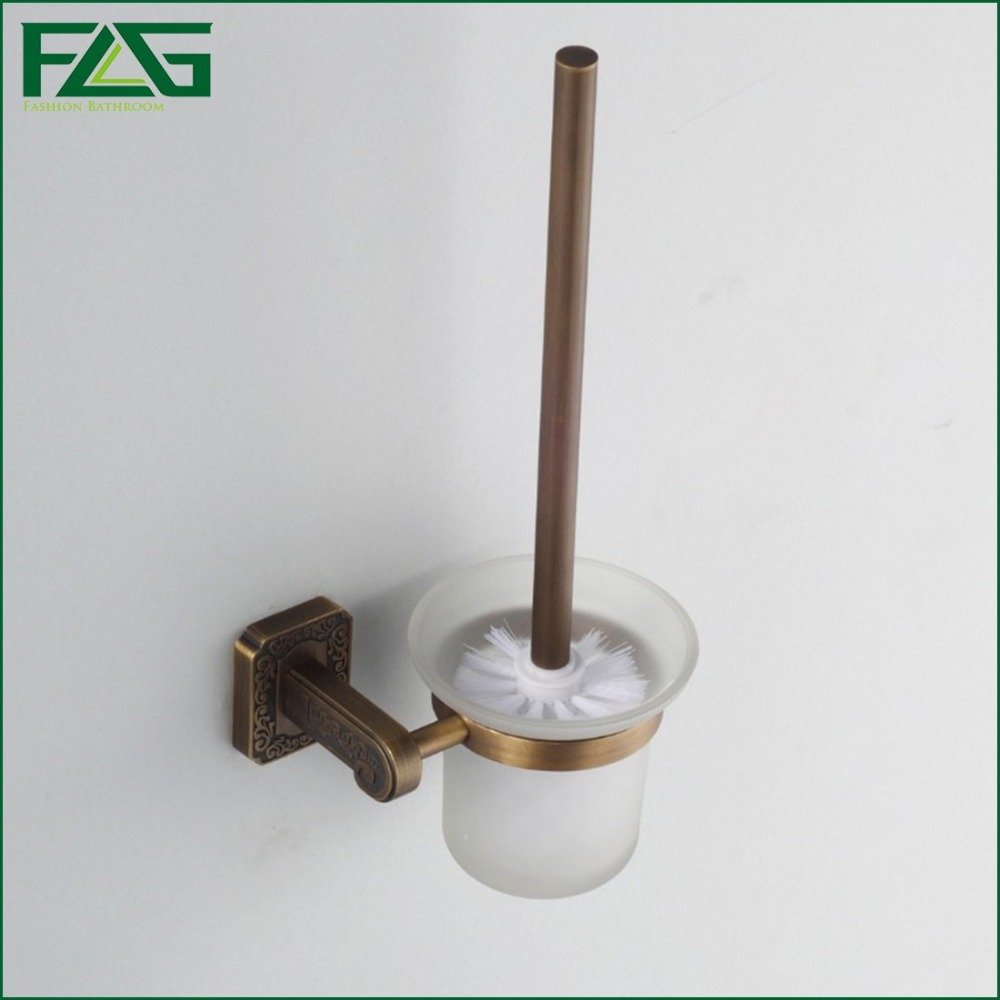 FLG Antique Brass Cleaning Brush Wall Mounted With Glass Cup Holder Bathroom Accessories Toilet Brush Holders Sanitary Ware G156(China (Mainland))