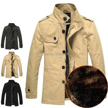 Medium-long New Style Winter Jackets For Men Splice Wool Jacket men's slim fit thickening Outerwear Mens Coat Winter Overcoat(China (Mainland))