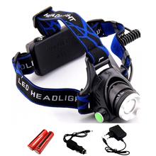 Waterproof LED Headlight CREE Q5 Headlamp with 18650 Battery 2 Chargers Head Lamp LED Flashlights Head Torch Camping Fishing(China (Mainland))