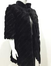 Natural Mink Fur Coat with genuine Leather Patchwork black jacket winter Luxury Diagonal stripes natural Mink Fur Coat