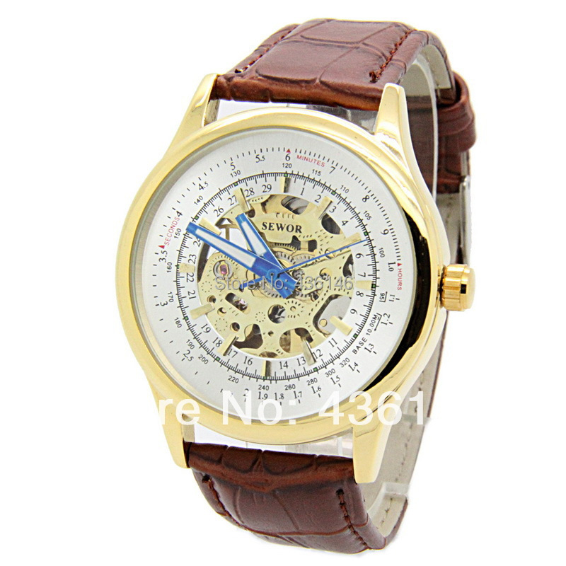 2015 NEW SEWOR Brand fashion luxury silver dial Men automatic mechanical watches skeleton self-wind watch man clock - The East Watch shop store