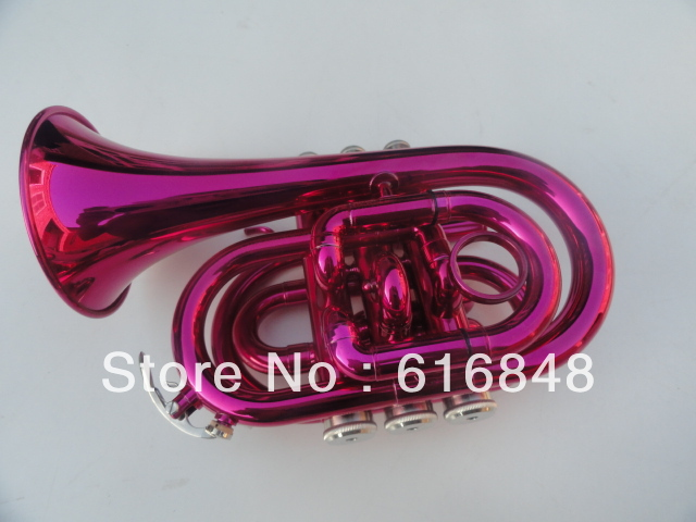 Wholesale pocket trumpet major surface downward Bb pink Angle(China (Mainland))