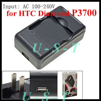 USB US Plug Battery Charger for HTC Diamond P3700 & Touch Pro S900 + Free shipping(China (Mainland))