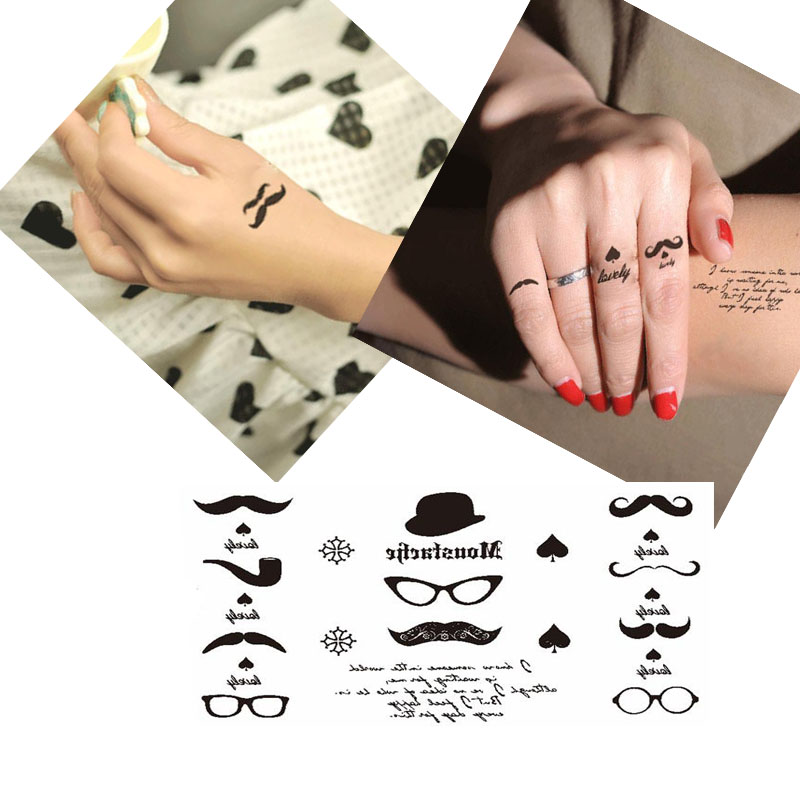 5PCS Waterproof Fashion Glasses Mustache Hat Spade Pictures Small Temporary Tattoo Sticker Fake Body Art Arm Sleeve Paste Paper(China (Mainland))