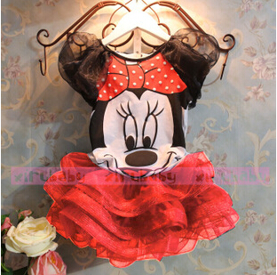 2015 New children Girl's dress Suit Minnie Mouse kids Clothing sets princess girls clothes sleeveless dress dress(China (Mainland))
