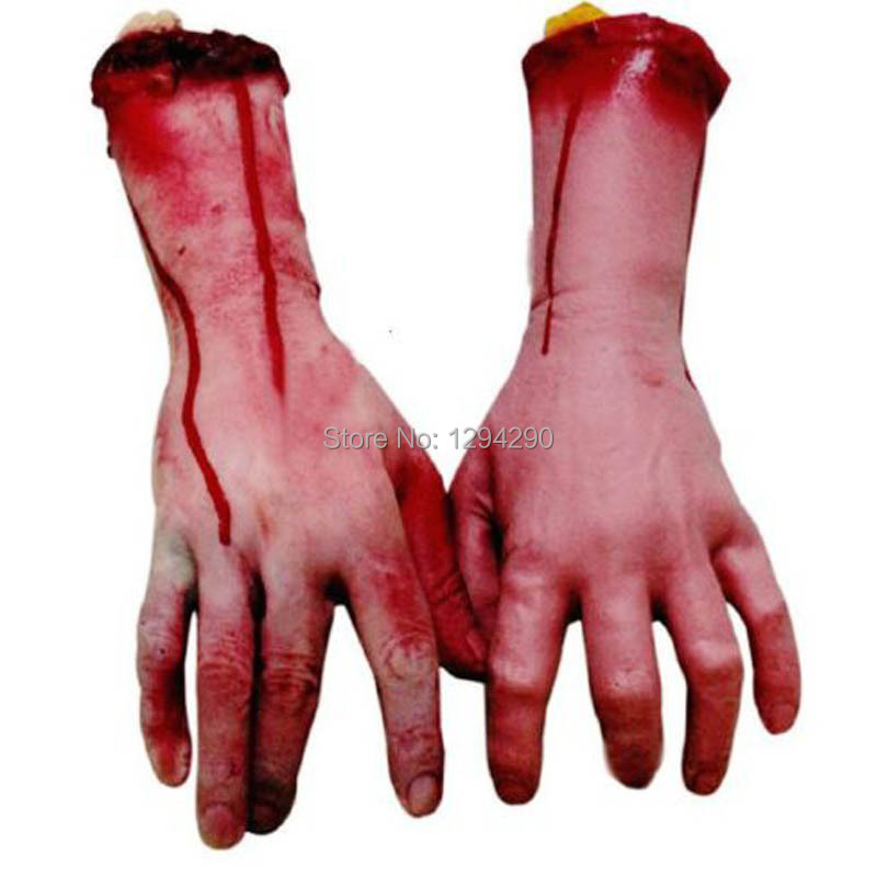 1pc Latex Lifesize Bloody Arm Hand Dead Body Parts Haunted House Halloween Prop utWS(China (Mainland))