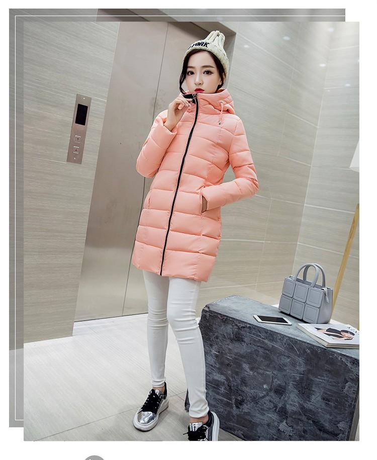 Скидки на 2016 Зимние Женщин Средней Длины С Капюшоном пуховик Мода Slim тонкий Хлопок жакет Большой размер Случайный Теплый Толстый Хлопок пальто АВ78
