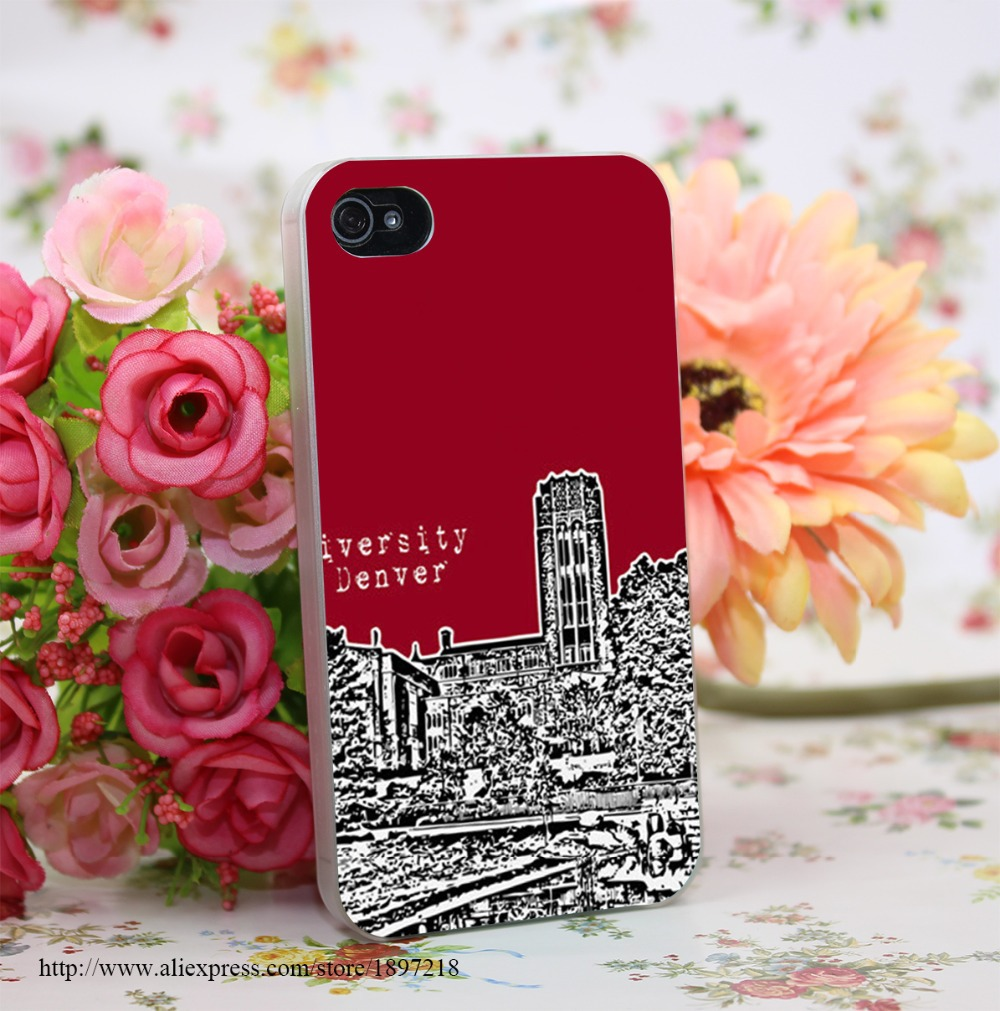 1623742Y University Of Denver Red Hard Transparent Cover Case for iphone 4 4s 5 5s 6 6s Clear Cell Phone Cases(China (Mainland))