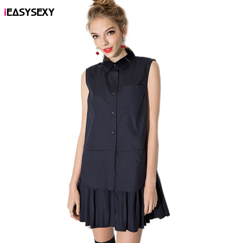 iEASYSEXY Fashion New Sweet Campus Style Solid Shirt Dresses Women POLO Collar sleeveless Casual Cotton Summer Dress(China (Mainland))