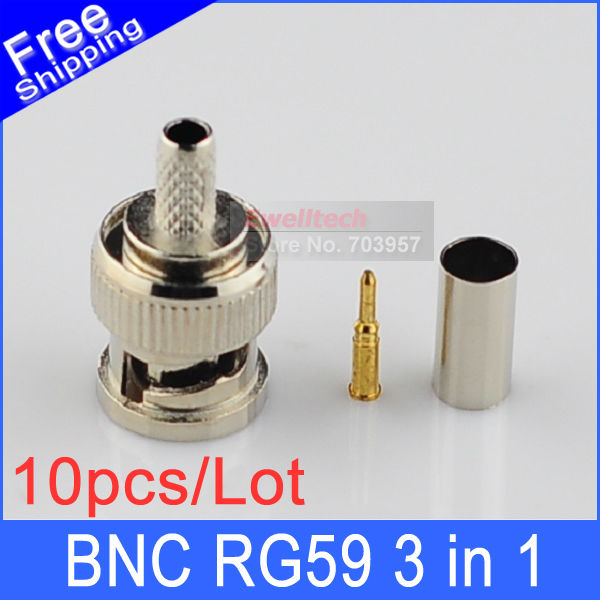 10sets general 3 in one BNC male crimp Connector for RG59 coax cable coupler adaptor(Hong Kong)