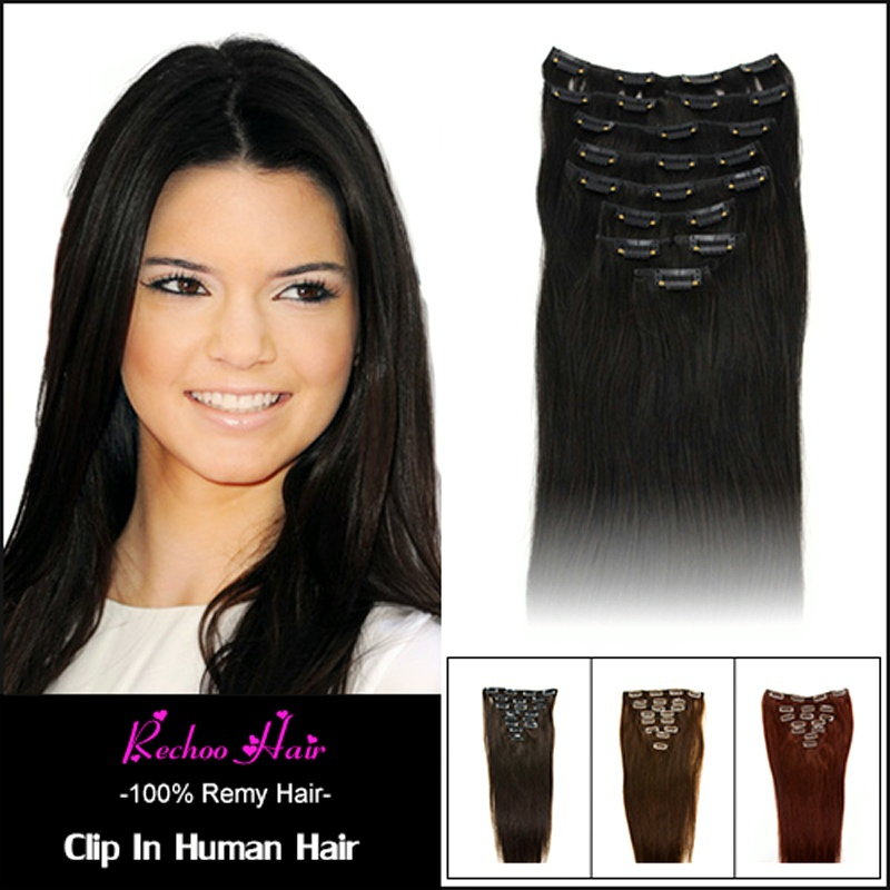 Remy Virgin Brazilian Hair Clip In Extensions 120G Clip In Brazilian Hair Extensions 1B Black Clip In Human Hair Extensions 200G(China (Mainland))