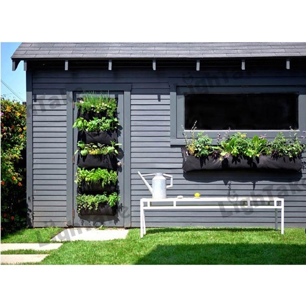 4 Planting Cells Vertical Garden Wall-mounted Polyester Living Indoor Wall Planter Bag Black(China (Mainland))