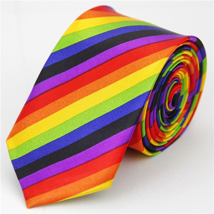 2015 New Accessories Skinny Tie for Men Striped Casual Slim Necktie Rainbow Black Purple Orange Pink Blue Navy Yellow 49[5cm](China (Mainland))