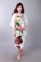 Novelty White Ladies Robe Spring Chinese Women Rayon Sleepwear Kimono Bath Gown Nightgown Flower One Size Mujer Pijama W4S0077(China (Mainland))