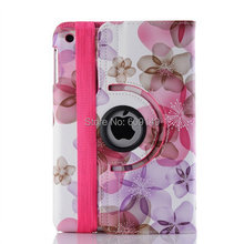 200pcs/lot Free shipping 6colours Beautiful Big flower holster leather cover case for ipad mini 1 2 for ipad mini wallet case(China (Mainland))