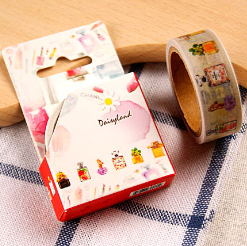 Free shipping washi paper tape with color box/15mm*5m varied perfume bottle masking japan washi tape(China (Mainland))