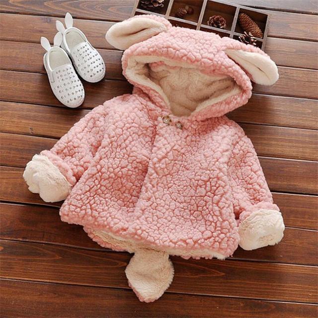 2016 супер милый ребенок девушки пальто мода конфеты цветов младенческая малышей wnter теплый мультфильм формы с капюшоном верхняя одежда