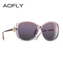 Aofly design da marca de luxo feminino polarizado óculos de sol 2019 senhora feminino strass templo tons eyewear uv400 a151(China)