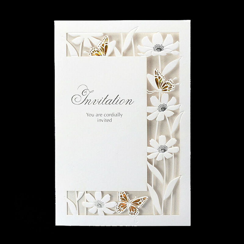 50pcs/lot Gild Laser Cut Hollow Flora Flowers White Wedding Invitations Elegant Party Decorations Card with Envelopes JJ897(China (Mainland))