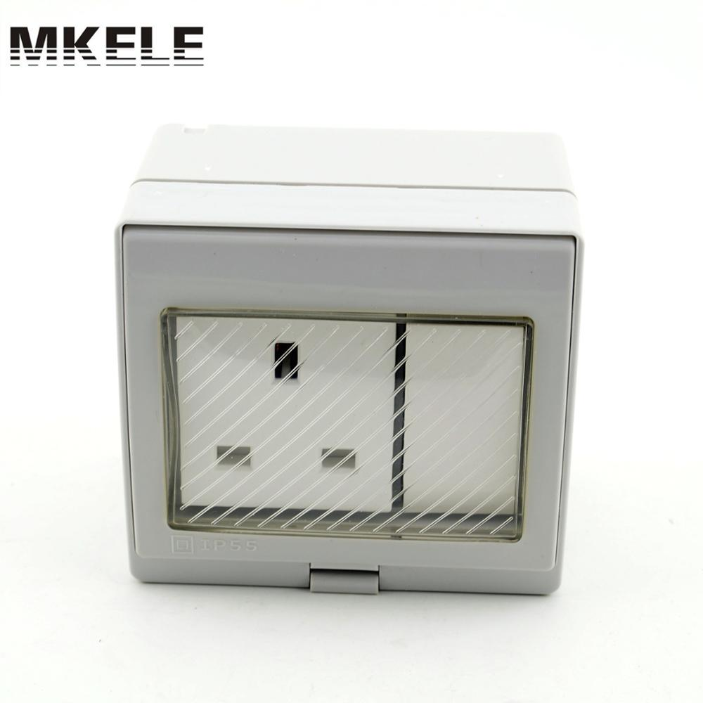 MK-SBSS high qulaity weather resistant Switch socket 13A 250V box,waterproof electrical push button switch pvc gang box(China (Mainland))