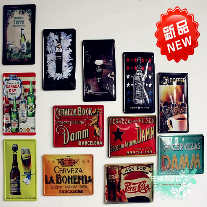 Metal painting retro vintage beer finishing coffee wall poster painting kitchen wall decoration restaurant wall sticker10pcs/lot(China (Mainland))
