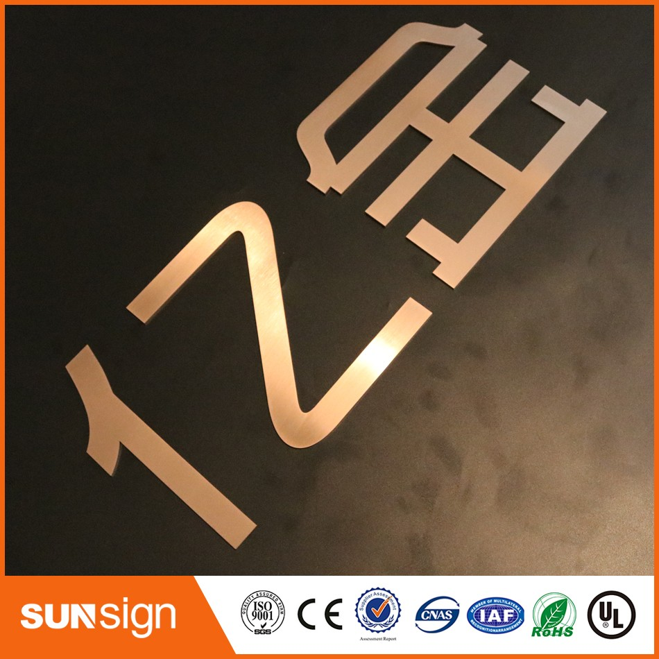 Rose gold metal signs matt polished stainless steel alphabet letters signage(China (Mainland))