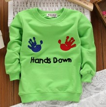 Wholesale New 2015 Autumn Children's Clothing T-Shirt Boys Cartoon Hands Letter Sweatshirt 5 Color Boys Clothes Aged 1-4 Years
