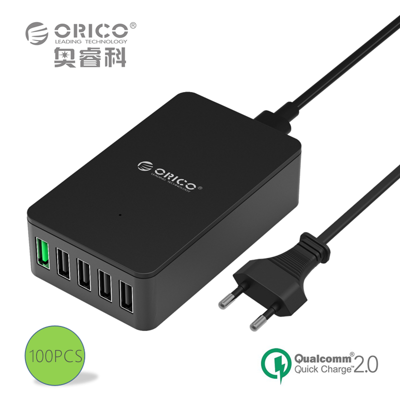 ORICO QSE-5U 5 Ports QC2.0 5V2.4A 9V2A 12V1.5A Desktop USB Quick Charger with EU or US Plug - Black 100PCS(China (Mainland))