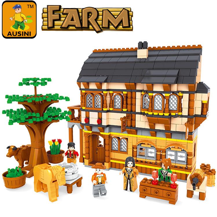 Building Block Sets Compatible lego new city happy farm 833D Construction Bricks Educational Hobbies Toys Kids