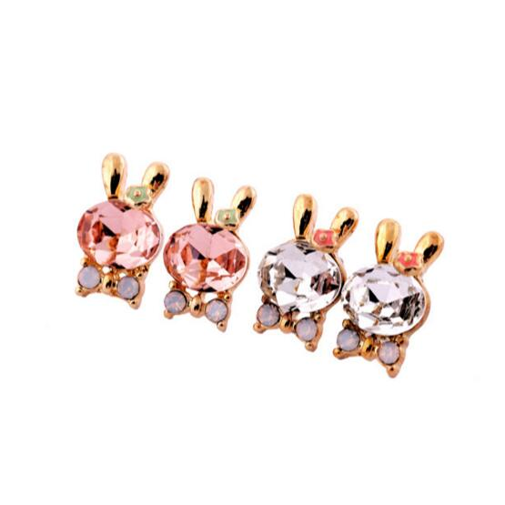 Pink White Lovely Girls Rabbit Earring Rose Gold Plated Crystal Bunny Stud Earrings Factory Wholesale V3426(China (Mainland))