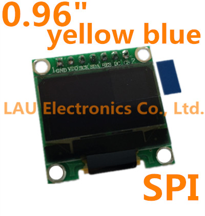 "1pcs 0.96""Yellow Blue New 128X64 OLED LCD LED Display Module For Arduino 0.96"" SPI Communicate(China (Mainland))"