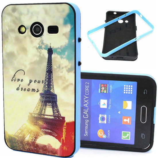 YT Luxury TPU PC Cover Case for Samsung Galaxy Core 2 G355h / Duos Dual SIM G355H High quality Back Cases 2 In 1(China (Mainland))