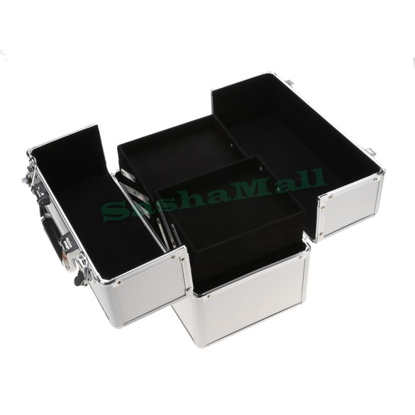 Metal Large Sector Cosmetic Organizer Jewelry Box With Handle Jewelry Case Storage Makeup Train Case US Free Shipping US50(China (Mainland))