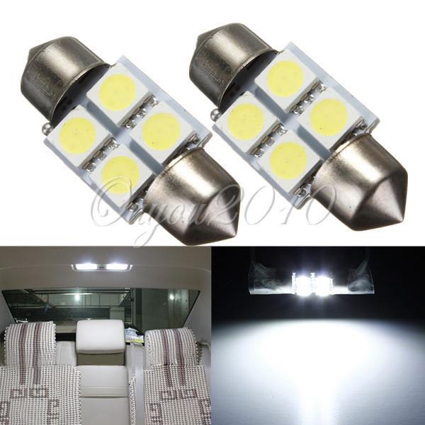 Big Promotion Pure White 31mm 5050 SMD 4 LED Car Auto C5W Interior Dome Festoon Reading