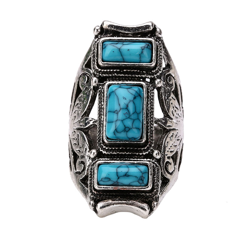 Vintage Luxury Big Unique Turquoise Punk Boho Party Rings For Women Tibetan Jewelry Silver Plated Large Stone Wedding Rings Sale(China (Mainland))