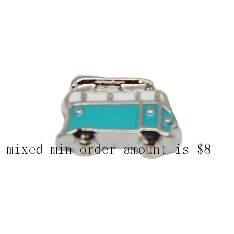 2015 Hot Sale popular trendy jewelry 10pcs bus floating charms for living glass lockets,D-14(China (Mainland))