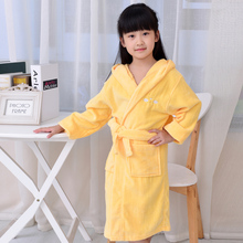 Yellow Color lovely Cute Girl Cotton Robe,  warm baby terry robe(China (Mainland))