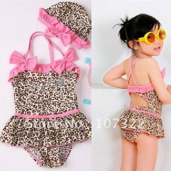Wholesale Leopard baby Swimwear kid Swimsuit Girl Bikini  Swimwear + swim cap Summer Children Clothing Costume 730013