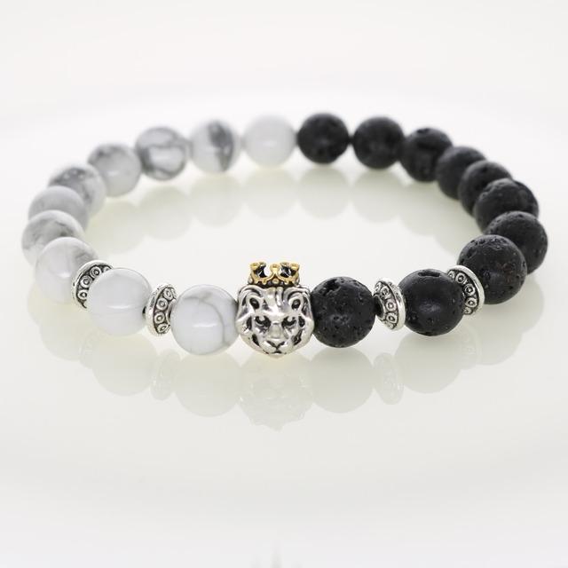 Природные камни серебряный лев шарм браслеты с золотой короной Howlite лава бусины ...