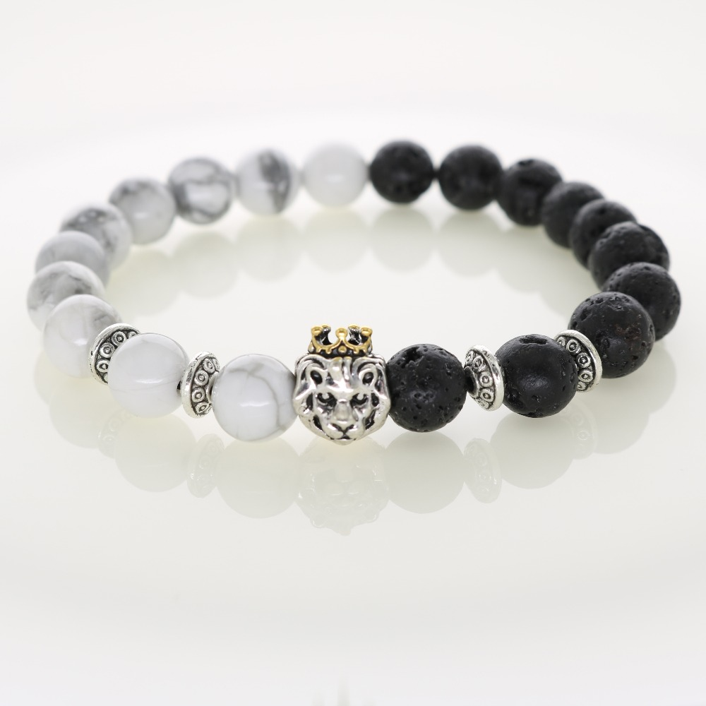 Natural Stones Silver Lion Charm Bracelets With Gold Crown ...