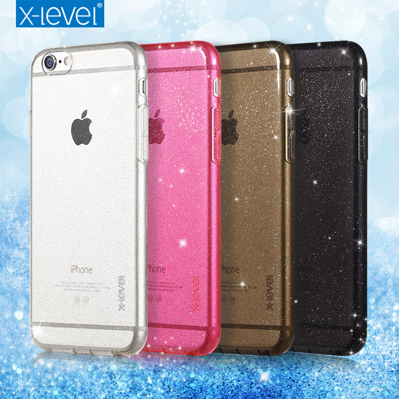 X-Level TPU Clear Bling phone case for apple iphone 6 6s luxury Soft Sparkling back case for iphone 6 plus 6s plus(China (Mainland))