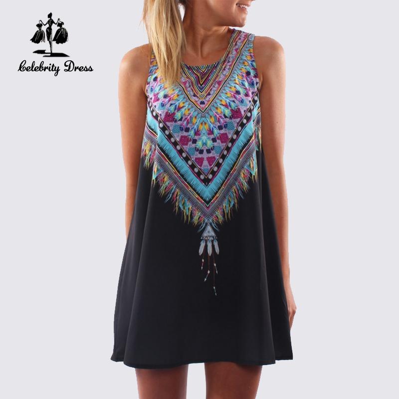 2015 New Summer Style Dress Loose Print Sleeveless O-Neck Mini Beach Women Dress(China (Mainland))