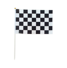 (12 pieces/lot)14*21cm Checkered flags with Plastic Flagpole,digital print race check hand flags,black and white chequered flag