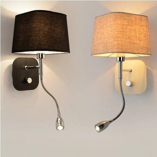 creative fabric wall sconce band switch modern led reading wall light fixtures for bedroom wall lamp bedroom wall lighting fixtures