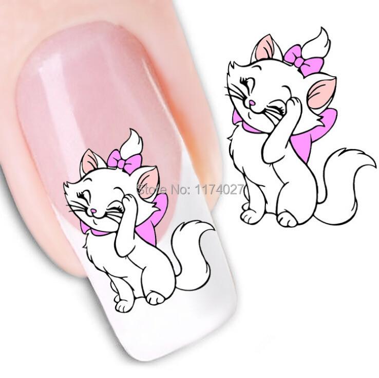 Гаджет  Creative Cute Cat Nail Sticker 3D Design DIY cartoon colorful diamonds Nail Art Nail Sticker Nails Decal Manicure nail tools  None Красота и здоровье