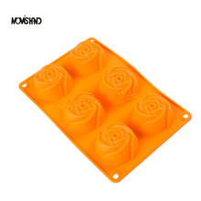 6 Cavities Rose Silicone Oven Budding Ice Cream Cake Baking Candy Making Moulds Cake Pans Handmade Soap DIY Chocolate Mold(China (Mainland))
